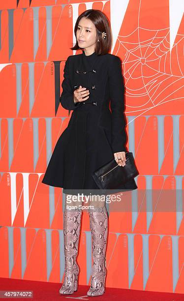 Chae JungAn poses for photographs during the W Korea campaign Love Your W party at Fradia on October 23 2014 in Seoul South Korea