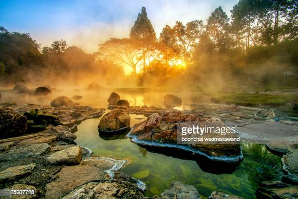chae son national park, a national park in mueang pan district, home to the namesake chae son waterfall, it host to caves and hot springs over rocky terrain, lampang, thailand - arkansas stock pictures, royalty-free photos & images