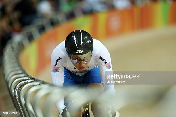 Chaebin Im of South Korea competes in the Men's Sprint Qualifying on Day 7 of the Rio 2016 Olympic Games at the Rio Olympic Velodrome on August 12...