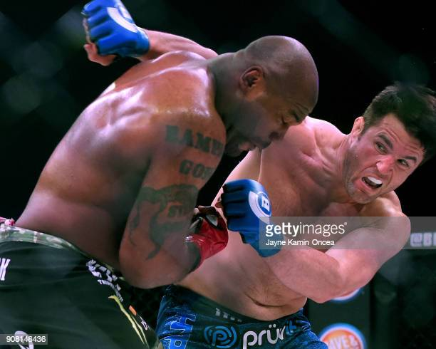Chael Sonnen as he defeated Quinton Jackson in their Heavyweight World Title fight at Bellator 192 at The Forum on January 20 2018 in Inglewood...