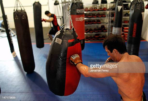 Chael Sonnen conducts a workout at the Team Quest gym on June 26 2012 in Tualatin Oregon Sonnen will fight Anderson Silva July 7 2012 at UFC 148 in...