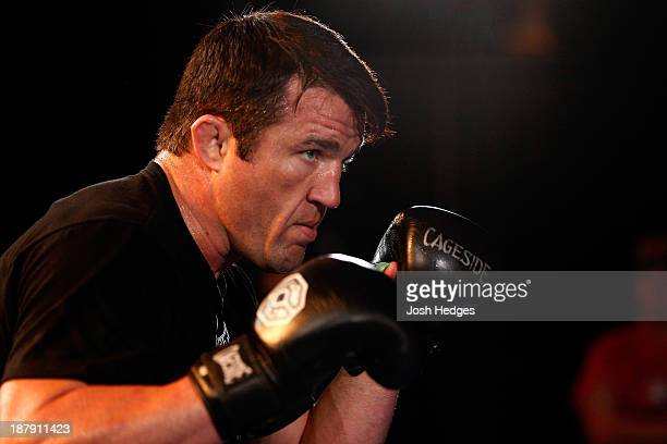 Chael Sonnen holds an open workout session for media inside the Hollywood Theatre at the MGM Grand Hotel/Casino on November 13 2013 in Las Vegas...