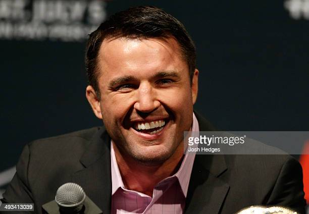 Chael Sonnen interacts with fans and media during the UFC press conference at the MGM Grand Garden Arena on May 23 2014 in Las Vegas Nevada