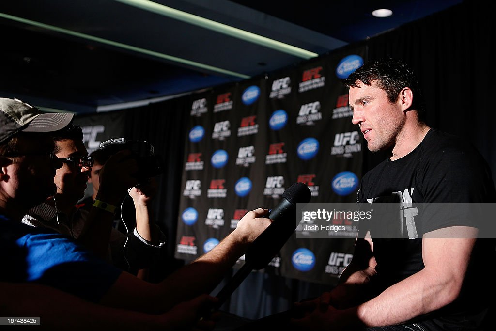Chael Sonnen interacts with media during UFC 159 media day at The Theater at Madison Square Garden on April 25, 2013 in New York City.