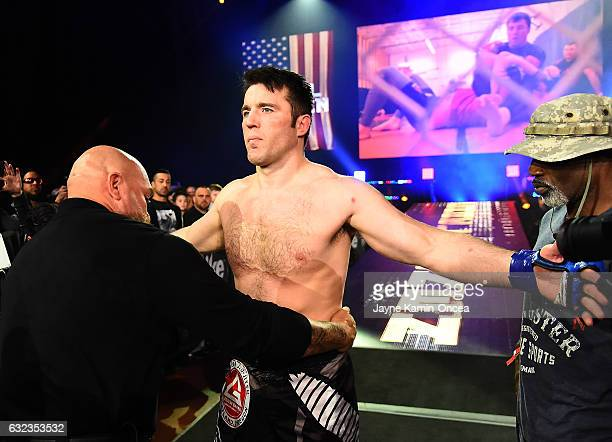 Chael Sonnen is is checked before he enters the cage for his Bellator MMA light heavyweight fight against Tito Ortiz at The Forum on January 21 2017...