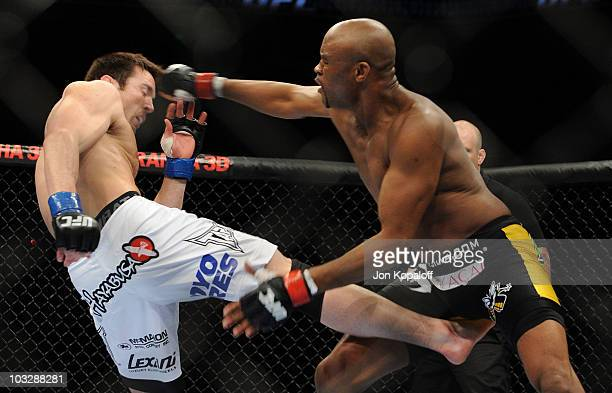 Chael Sonnen kicks Anderson Silva during the UFC Middleweight Championship bout at Oracle Arena on August 7 2010 in Oakland California