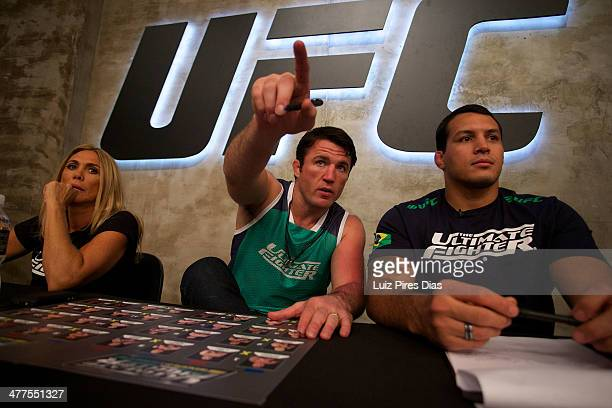 Chael Sonnen observes the fight between Guilherme Viana and Antonio Carlos Jr during their elimination fight for season three of The Ultimate Fighter...