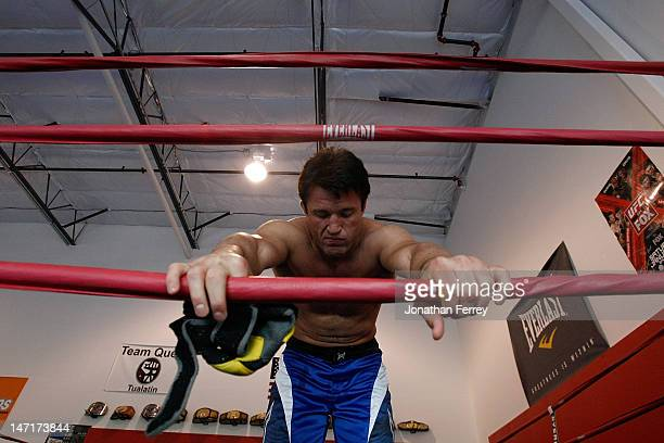 Chael Sonnen prepares to conduct a workout at the Team Quest gym on June 26 2012 in Tualatin Oregon Sonnen will fight Anderson Silva July 7 2012 at...