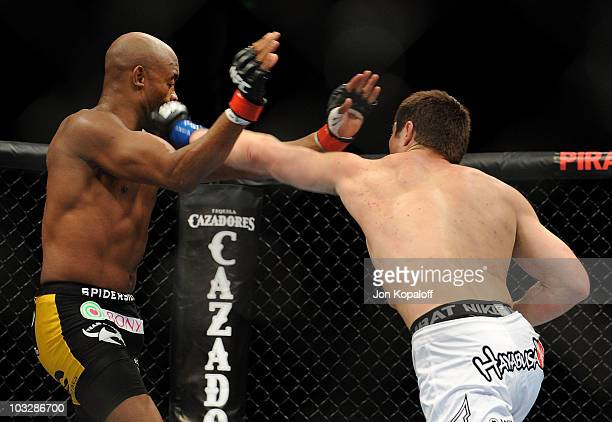 Chael Sonnen punches Anderson Silva during the UFC Middleweight Championship bout at Oracle Arena on August 7 2010 in Oakland California