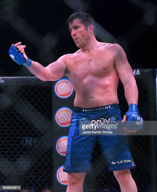 Chael Sonnen stands in the cage as he defeated Quinton Jackson in their Heavyweight World Title fight at Bellator 192 at The Forum on January 20 2018...