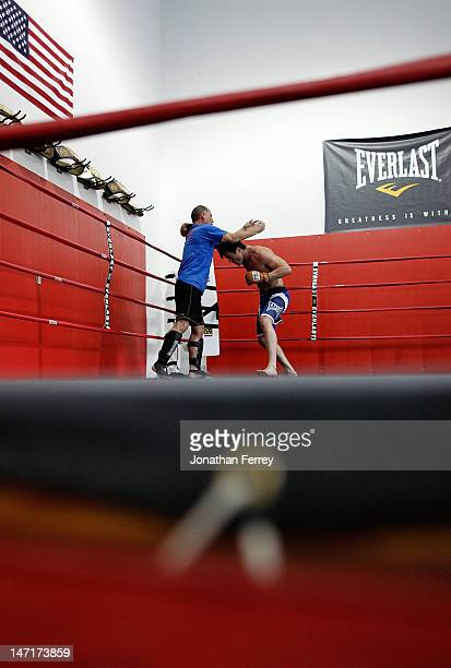 Chael Sonnen trains with his coach Scott McQuary at the Team Quest gym on June 26 2012 in Tualatin Oregon Sonnen will fight Anderson Silva July 7...
