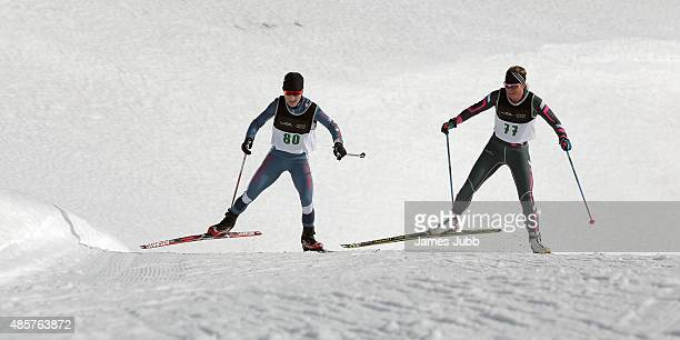 ChaeWon Lee of Korea and Brandy Stewart of Canada compete in the Freestyle Individual Ladies 5km FIS CrossCountry Skiing ANC Individual Start...