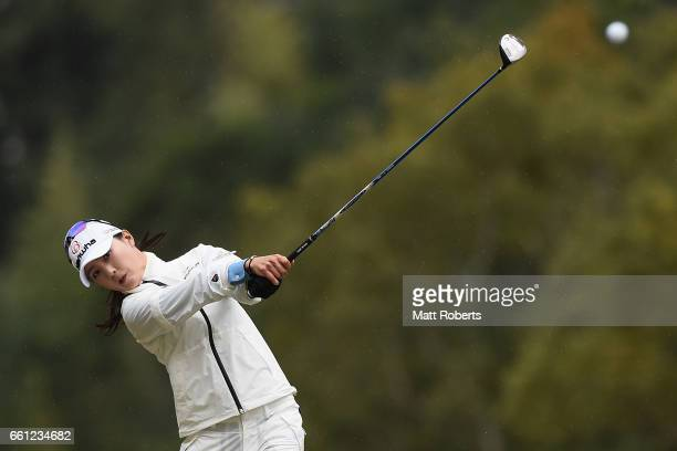 ChaeYoung Yoon of Korea playes her second shot on the fifth hole during the second round of the YAMAHA Ladies Open Katsuragi at the Katsuragi Golf...