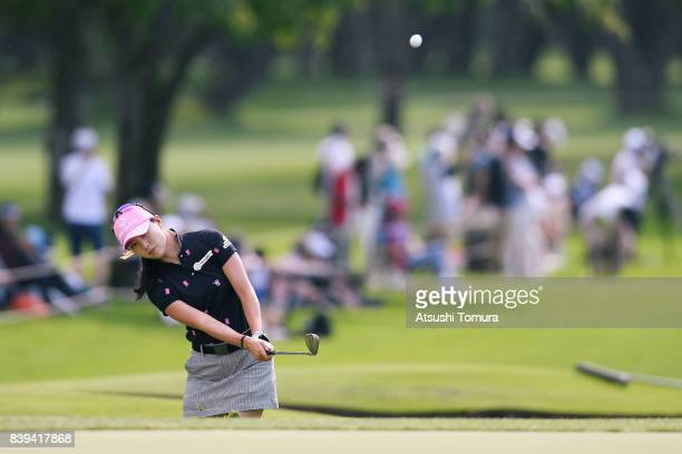 ChaeYoung Yoon of South Korea chips onto the 18th green during the third round of the Nitori Ladies 2017 at the Otaru Country Club on August 26 2017...