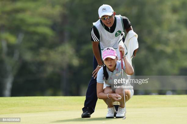 ChaeYoung Yoon of South Korea prepares to putt during the third round of the 50th LPGA Championship Konica Minolta Cup 2017 at the Appi Kogen Golf...
