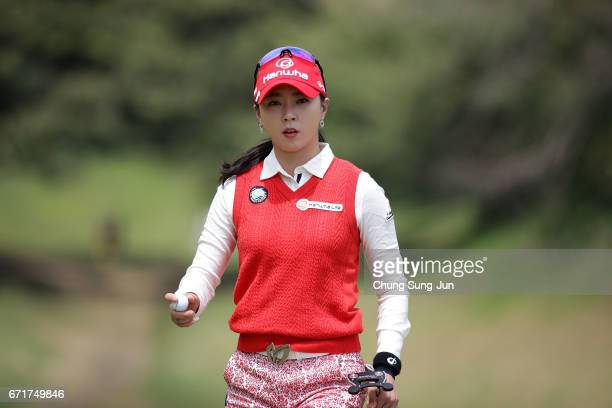 ChaeYoung Yoon of South Korea reacts after a putt on the 2nd green during the final round of Fujisankei Ladies Classic at the Kawana Hotel Golf...