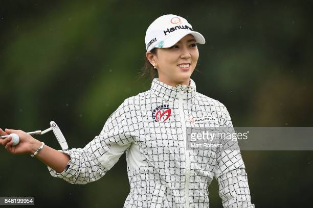 ChaeYoung Yoon of South Korea smiles during the final round of the Munsingwear Ladies Tokai Classic 2017 at the Shin Minami Aichi Country Club Mihama...