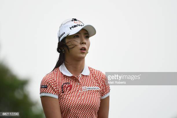 ChaeYoung Yoon of South Korea watches her tee shot on the 10th hole during the first round of the HokennoMadoguchi Ladies at the Fukuoka Country Club...