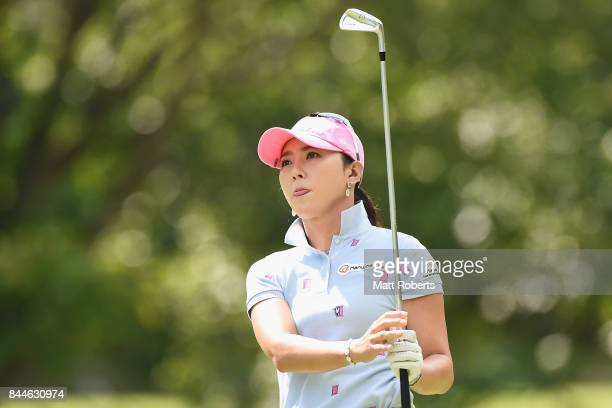 ChaeYoung Yoon of South Korea watches her tee shot on the 4th hole during the third round of the 50th LPGA Championship Konica Minolta Cup 2017 at...