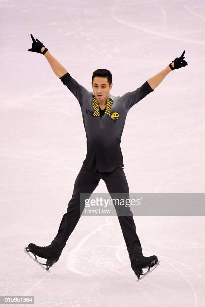 Chafik Besseghier of France competes in the Figure Skating Team Event - Men's Single Skating Short Program during the PyeongChang 2018 Winter Olympic...