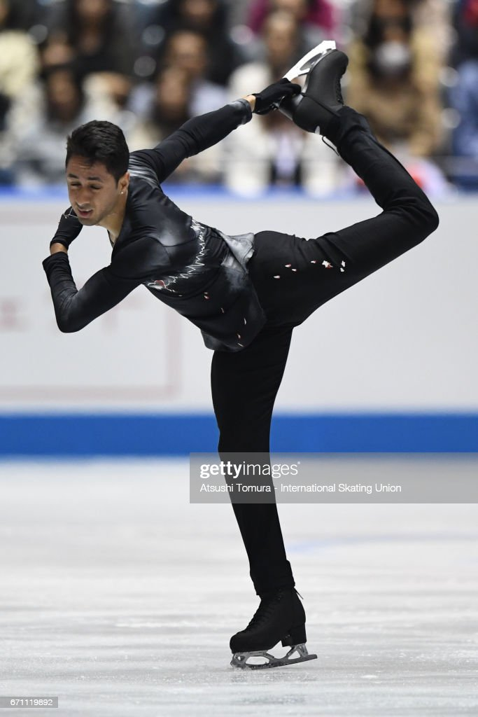 Chafik Besseghier of France competes in the Men free skating during the 2nd day of the ISU World Team Trophy 2017 on April 21, 2017 in Tokyo, Japan.
