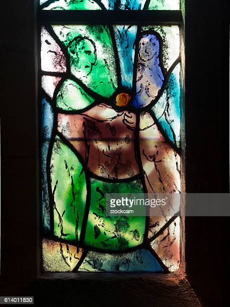chagall window in all saints church, kent, uk - marc chagall stockfoto's en -beelden