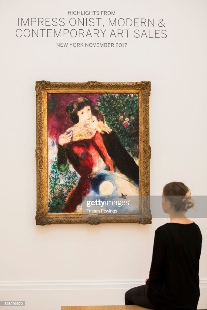 Chagall's Les Amoureux (Estimate $12-18 million) goes on view as part of Sotheby's Contemporary Impressionist New York TRAVEX highlights preview at Sotheby's on October 6, 2017 in London, England. The Contemporary Art Evening Auction takes place at Sothebys New York on 16th November 2017.