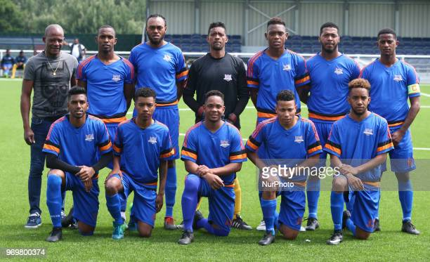 Chagos Islands Team shoot during Conifa Paddy Power World Football Cup 2018 Friendly between Matabeleland v Chagos Islands at Parkside London on 07...