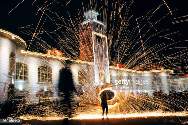 chaharshanbe suri fireworks - persian new year stock photos and pictures