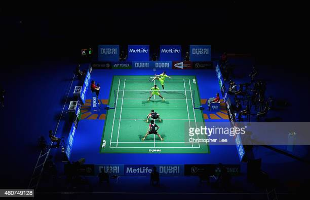Chai Biao and Hong Wei of China in action against Lee Yong Dae and Yoo Yeon Seong of Korea in the Mens Doubles Final during day five of the BWF...