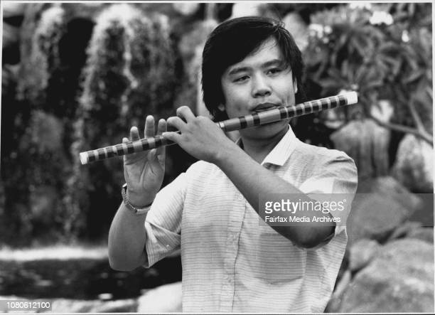 Chai ChangNing playing his Chinese bamboo flute January 27 1989