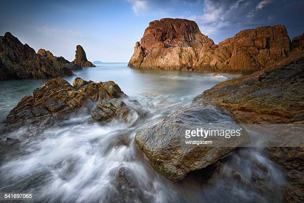 chai chet cape close to klong prao beach - wiratgasem stock photos and pictures