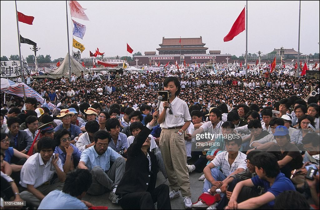 Demonstration of Chinese Students at Tiananmen Square in Beijing China on May 28, 1989. : ニュース写真