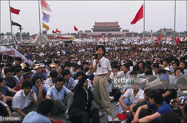 Chai Ling student movement leader in Beijing China on May 28 1989