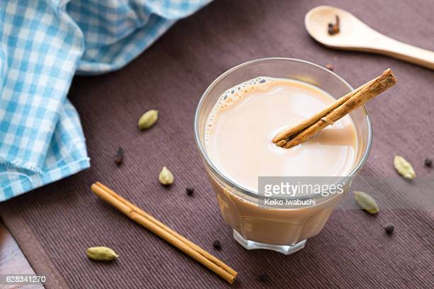 chai tea with spices. - chai stock photos and pictures