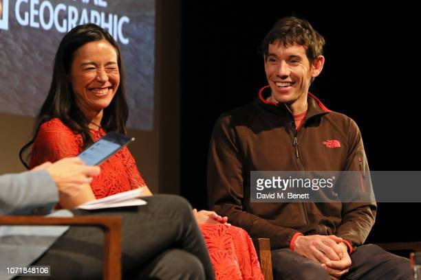 E Chai Vasarhelyi and Alex Honnold on stage during National Geographic Documentary Films London Premiere of Free Solo QA at BFI Southbank on December...