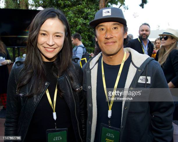 Chai Vasarhelyi and Jimmy Chin attend National Geographics Contenders Showcase at The Greek Theatre a oneofakind outdoor experience and concert...