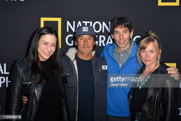 Chai Vasarhelyi Jimmy Chin Alex Honnold and Sanni McCandless attend National Geographic's Contenders Showcase at The Greek Theatre on June 02 2019 in...