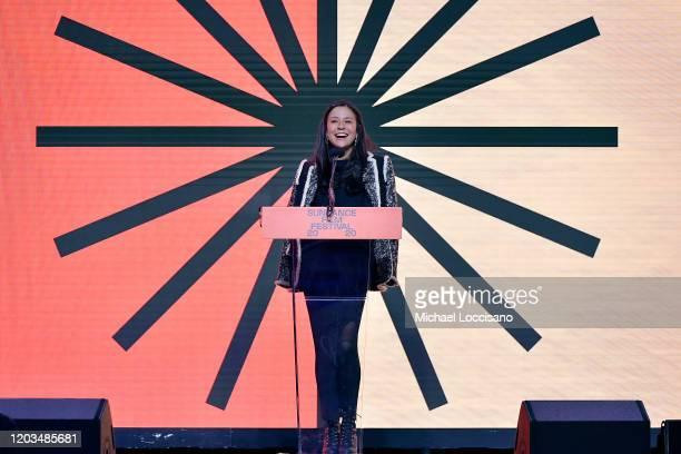 E Chai Vasarhelyi speaks onstage during the 2020 Sundance Film Festival Awards Night Ceremony at Basin Recreation Field House on February 01 2020 in...