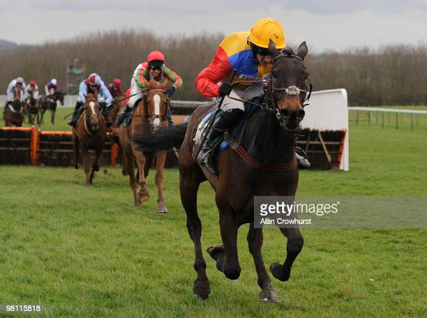 Chaim and Dougie Costello pull away from the second last to easily win The SIS 1st For Football Data Handicap Hurdle Race at Towcester racecourse on...