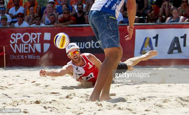 Chaim Schalk of Canada in action during Day 7 of the FIVB Beach Volleyball World Championships 2017 on August 3 2017 in Vienna Austria