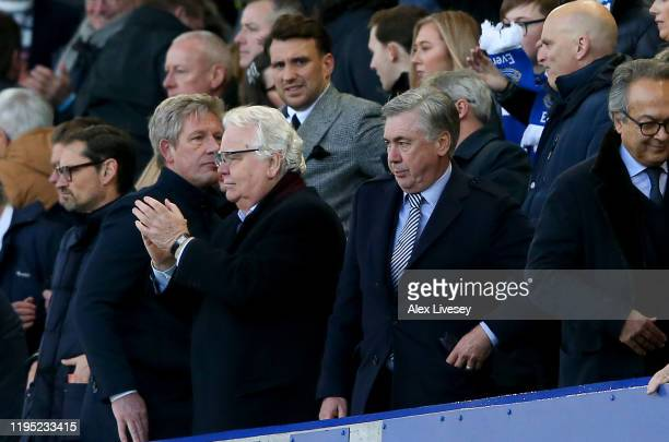 Chaiman of Everton Bill Kenwright and Manager of Everton Carlo Ancelotti look on during the Premier League match between Everton FC and Arsenal FC at...