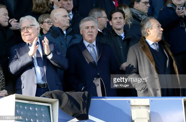 Chaiman of Everton Bill Kenwright Manager of Everton Carlo Ancelotti and Everton owner Farhad Moshiri look on during the Premier League match between...