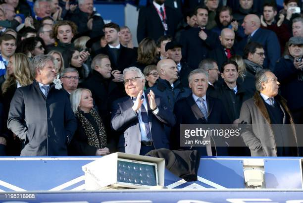 Chaiman of Everton Bill Kenwright, Manager of Everton Carlo Ancelotti and Everton owner Farhad Moshiri look on during the Premier League match...