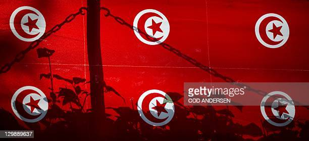 A chain and flowers are silhouetted against a banner with the national flag that welcomes voters at the Tunisian embassy in Berlin on October 21 2011...