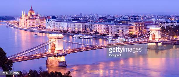 Chain Bridge and Parliament Building Budapest at Dusk