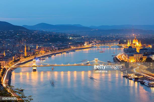 Chain Bridge and Parliament in Budapest at dusk