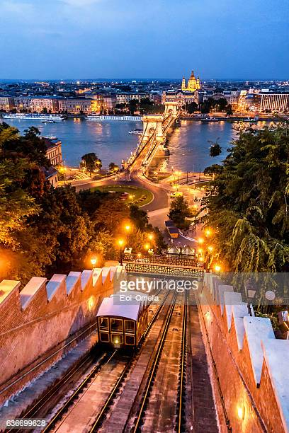 chain bridge budapest hungary dusk vertical stephen's basilica funicular sikló - budapest stock pictures, royalty-free photos & images