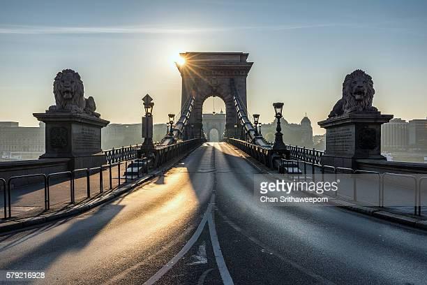 Chain bridge of Budapest , Hungary