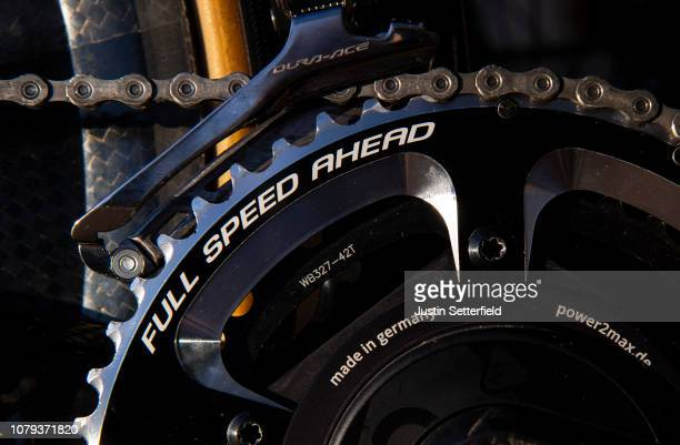 Chain / Crankset Full Speed Ahead Power2max / Front derailleur Shimano Durance / Detail view / on December 18, 2018 in Altea, Spain.